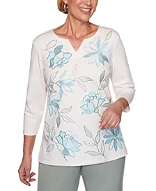 Chesapeake Bay Embroidered Split-Neck Knit Top