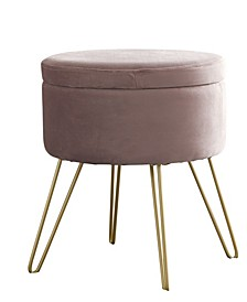 Posh Habitat by Ornavo Modern Round Velvet Storage Ottoman with Gold Metal Legs & Tray Top Coffee Table