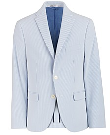 Big Boys Slim-Fit Blue/White Stripe Seersucker Suit Jacket