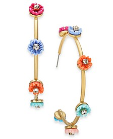 """INC Gold-Tone Multicolor Flower Large Hoop Earrings, 2.1"""", Created for Macy's"""