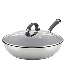 "Espree Stainless Steel Nonstick 12.5"" Covered Deep Skillet"