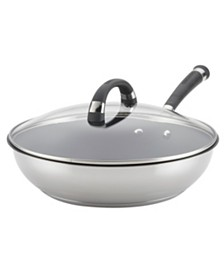 """Espree Stainless Steel Nonstick 12.5"""" Covered Deep Skillet"""