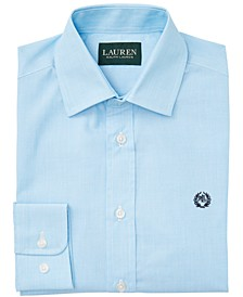 Big Boys Classic-Fit Teal Blue End-On-End Solid Dress Shirt
