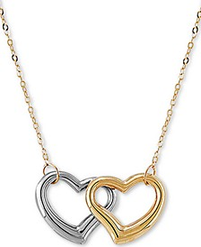 """Interlocking Double Heart 17"""" Pendant Necklace in 10k Gold & White Gold"""