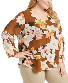 Plus Size Printed Ruffle-Sleeve V-Neck Top