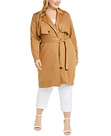 Plus Size Trench Cardigan Sweater