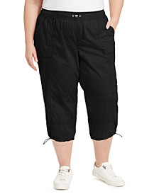 Plus Size Cotton Woven Active Pants