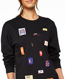 Women's Sportswear Cotton Icon Clash Long-Sleeve T-Shirt