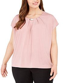 Adrienne Vittadini Plus Size Knit Crepe Layering Top