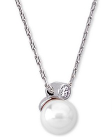 "Sterling Silver Cubic Zirconia & Imitation Pearl Pendant Necklace, 15"" + 2"" extender"