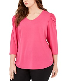 Plus Size Knit Crepe Puff-Sleeve Top