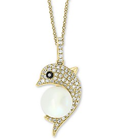 "EFFY® Cultured Freshwater Pearl (8mm) & Diamond (1/4 ct. t.w.) Dolphin 18"" Pendant Necklace in 14k Gold"