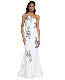 Petite One-Shoulder Embroidered Gown