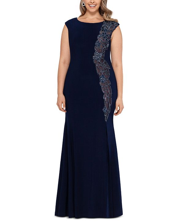 XSCAPE Plus Size Embroidered Flare-Hem Gown