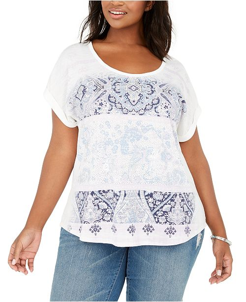 Style & Co Plus Size Lotus Garden Graphic Top, Created for Macy's