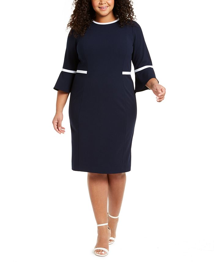 Calvin Klein - Plus Size Piped Bell-Sleeve Sheath Dress