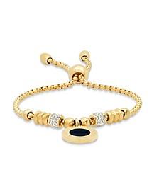 18K Micron Gold Plated Stainless Steel Drawstring Bracelet with Enamel Greek Key Design Medallion Centered