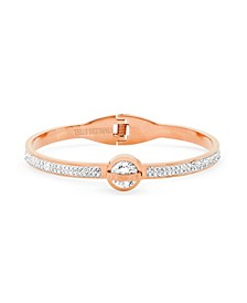 18K Micron Rose Gold Plated Stainless Steel Caged Roman Numeral Design Bangle