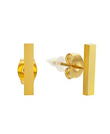 Stainless Steel 18K Micron Gold Plated Small Bar Stud Earrings