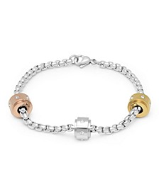 Ladies Stainless Steel Bracelet with Tri Colored Charms