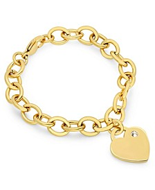 Ladies Stainless Steel 18K Micron Gold Plated Heart Charm Bracelet