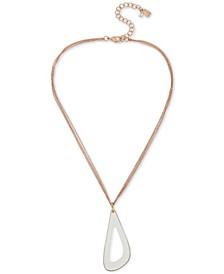 "Rose Gold-Tone Patina Sculptural Open Pendant Necklace, 17"" + 3"" extender"