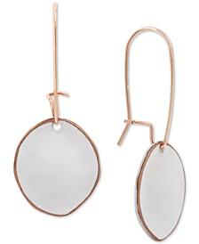 Rose Gold-Tone Patina Sculptural Disc Linear Drop Earrings