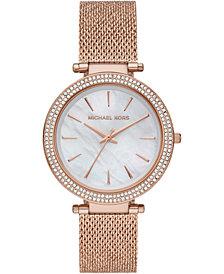 Michael Kors Women's Darci Rose Gold-Tone Stainless Steel Mesh Bracelet Watch 39mm