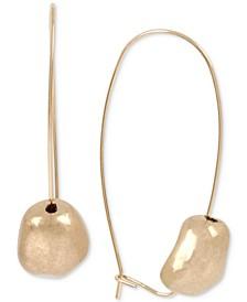 Gold-Tone Nugget Bead Linear Drop Earrings