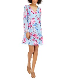 INC Floral-Print Chiffon Shift Dress, Created for Macy's