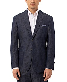Orange Men's Slim-Fit Denim Blue Floral Sport Coat