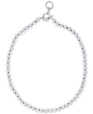 """16"""" Silver-Tone Metal Bead (8 mm) Necklace"""