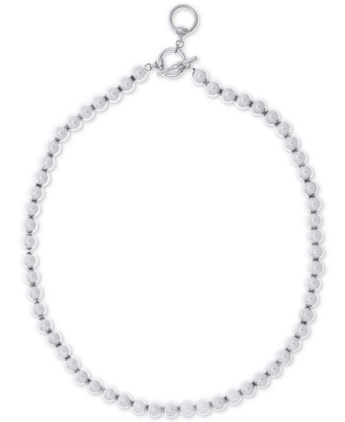 """Lauren Ralph Lauren - 16"""" Silver-Tone Metal Bead (8 mm) Necklace"""