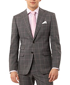 Men's Slim-Fit Stretch Gray Windowpane Suit Separate Jacket