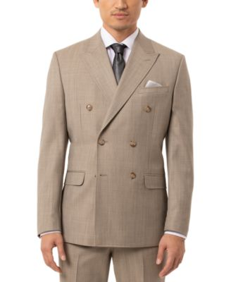 Men's Slim-Fit Olive Sharkskin Double Breasted Suit Separate Jacket