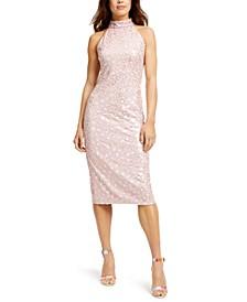 Allover-Sequin Bodycon Midi Dress