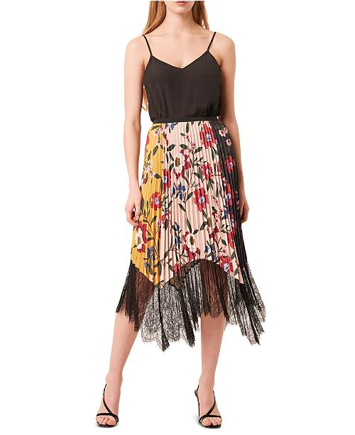 French Connection Lace-Hem Pleated Skirt