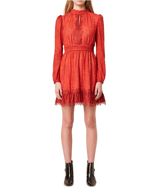 French Connection Mock-Neck Lace-Overlay Dress