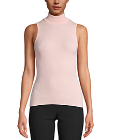 Anne Klein Sleeveless Ribbed Turtleneck Sweater