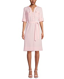 Pocket-Front Belted Shirtdress
