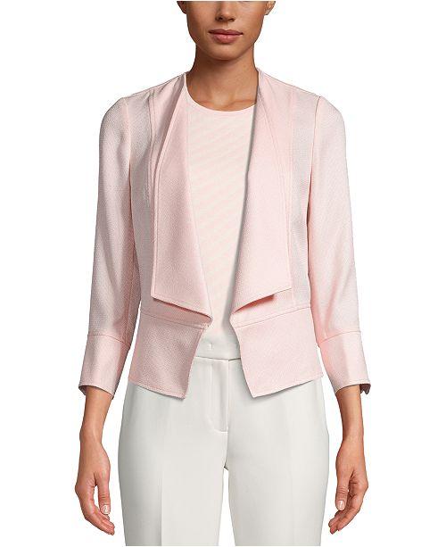 Anne Klein Basketweave Drape-Front Jacket