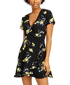 Juniors' Floral-Print Faux-Wrap Dress