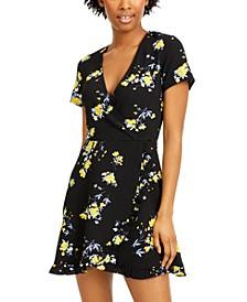 Juniors' Floral-Print Faux-Wrap Dress