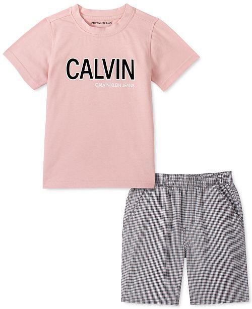 Calvin Klein Toddler Boys 2-Pc. Logo T-Shirt & Check Twill Shorts Set