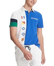 Men's Custom-Fit Caleb Colorblock Nautical Flag Polo Shirt