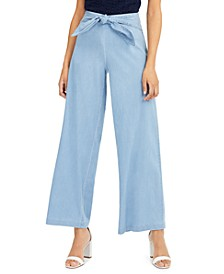 INC Tie-Waist Wide-Leg Pants, Created for Macy's