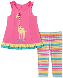 Little Girls 2-Pc. Giraffe Tunic & Striped Leggings Set