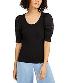 INC Ribbed Poplin-Sleeve Top, Created for Macy's