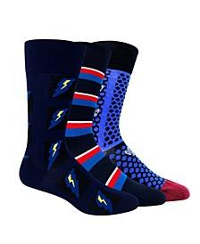 Men's Funky Dress Socks, Pack of 3