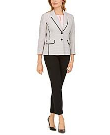 Tweed Two-Button Blazer, Straight-Leg Pants & Keyhole Top